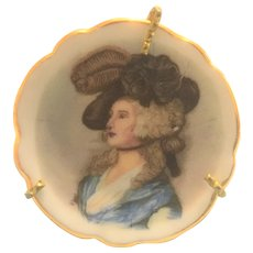 Vintage Limoges miniature plate of a Victorian lady facing left
