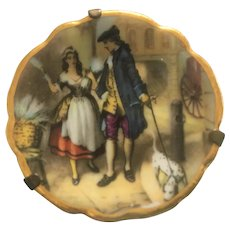 Vintage Limoges miniature plate of Dandy with dalmation flirting with market girl