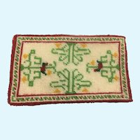 "Vintage Artisan cross stitched ""Tree of Life"" miniature rug"