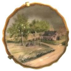Vintage Limoges miniature hand painted country house plate.