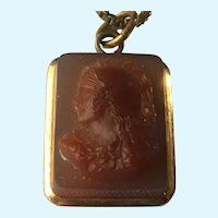 Victorian agate Warrior cameo pendant on chain