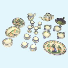Vintage French Quimper style 1:12 doll house artisan dish set