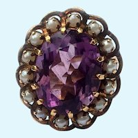 Victorian Amethyst and pearl 18 K gold ring