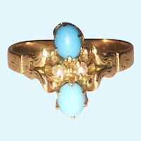 Victorian Turquoise and seed pearl 14 kt gold ring