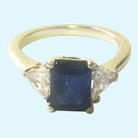 Sapphire and diamond 14 K white gold ring vintage