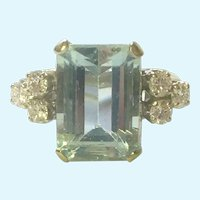 Aquamarine and diamond ring 14 K gold vintage