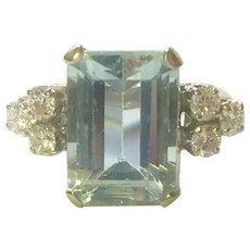 Aquamarine and diamond ring 14 K gold vintage