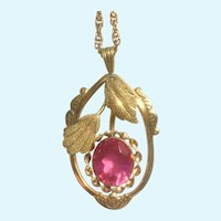 Vintage Victorian revival pendant pink spinel and chain 12 K gold filled