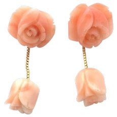 Vintage coral rose dangle earrings 14 kt