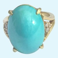 Persian Turquoise and diamond ring 18 K gold Vintage