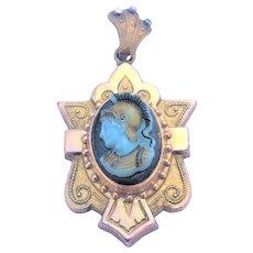 Antique Victorian Etruscan cameo locket