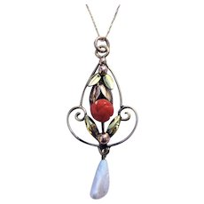 Victorian red coral and Mississippi freshwater pearl lavaliere in 9 KT on a 10 KT chain