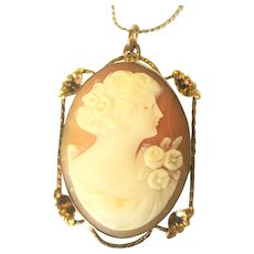 Vintage hand carved cameo locket on chain