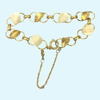 Vintage 14 KT gold filled bracelet with white coral roses
