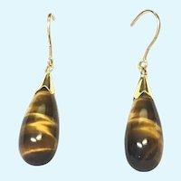 Vintage 14 KT gold and tear drop tigers eye earrings