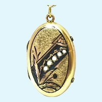 Victorian Lily of the valley enamel rolled gold locket