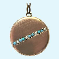 Vintage Victorian revival turquoise and seed pearl round locket