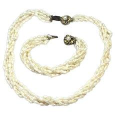 Vintage freshwater pearl torsade necklace and bracelet set