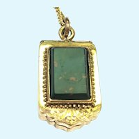 Victorian rolled gold carnelian and bloodstone mourning locket on chain
