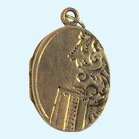Vintage oval rolled gold hand engraved locket