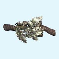 Antique Bogwood oak and sterling silver leaves and acorn brooch