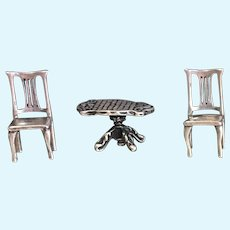Vintage Sterling silver 2 chair and one table set  1:48 th scale