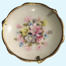 Vintage miniature 2 inch Limoges hand painted flower plate