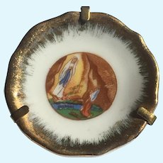 Our Lady of Lourdes miniature Limoges plate with 24 KT gold luster edge 1.67 inch