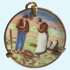 Vintage Limoges miniature plate 1.5 inch Farmers
