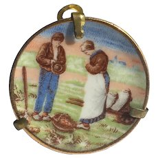 Vintage Limoges miniature plate 1.5 inch Farmers