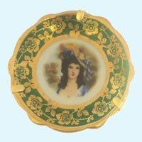 Antique Limoges miniature plate 2 inch Brunette lady