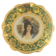 Antique Limoges miniature plate 2 inch Brunette lady