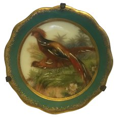 Vintage Limoges miniature Pheasant plate 1 3/4 inch