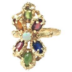Vintage 14 kt bamboo multi gem ring