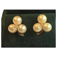 Vintage 14 KT gold Cultured pearl and diamond earrings