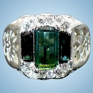 New Custom made Green Tourmaline and diamond ring in 14 karat white gold