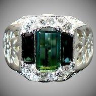 New Custom made Green Tourmaline and diamond ring in 14 karat white gold