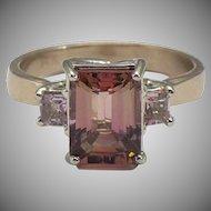 Custom made natural precious Topaz 14 karat rose gold ring