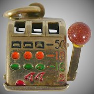 Vintage 14 KT Slot Machine with moving arm charm