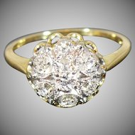 Vintage diamond cluster ring in 14 Karat gold