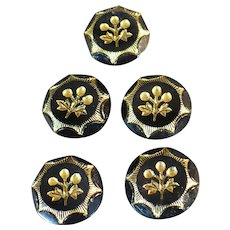 Victorian Black glass buttons with gold luster