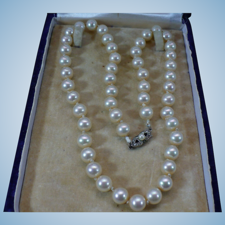 2d51d20e6ccde Vintage Majorca simulated pearl 18 inch necklace with 800 silver clasp