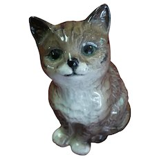 Vintage Beswick of England grey brown long haired cat figurine