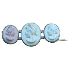 Victorian silverplate lava cameo brooch