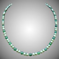 Custom green freshwater cultured pearls, peridot and nephrite jade bead necklace