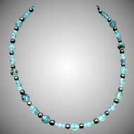 Prehnite and black freshwater cultured pearl necklace