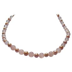 Rose Quartz and natural color freshwater cultured pearl necklace