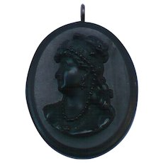 Victorian Volcanite Cameo Lady's Brooch