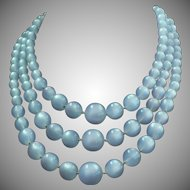 Vintage triple strand pale blue Moonglo bead necklace by Richelieu
