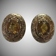 Victorian rolled gold plate Citrine screw on earrings